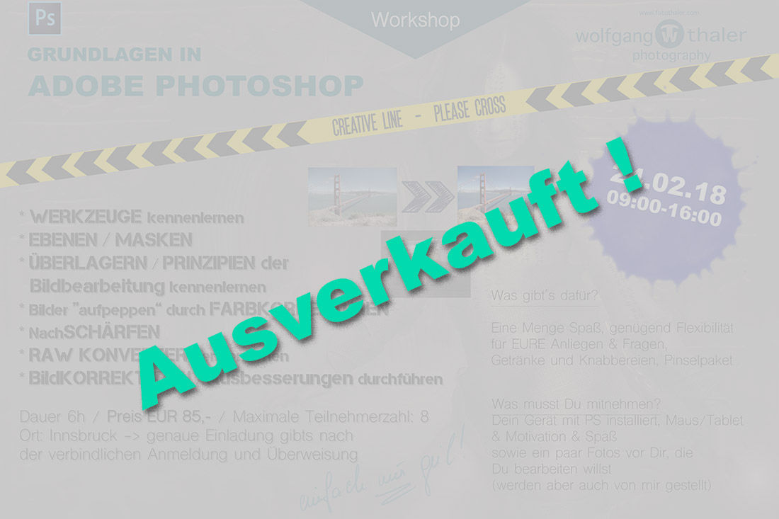Adobe Photoshop Beginner Workshop - AUSVERKAUFT !!
