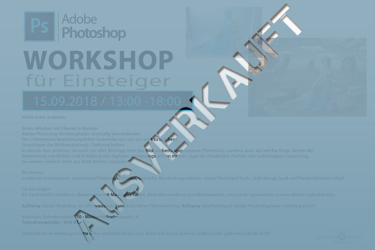 Photoshop Einsteiger Workshop - AUSVERKAUFT!!