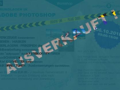Oktober 2018 - Photoshop Einsteiger Workshop – AUSVERKAUFT!!