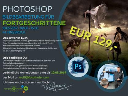 Bildbearbeitung für Fortgeschrittene mit Photoshop am 18.05.2019