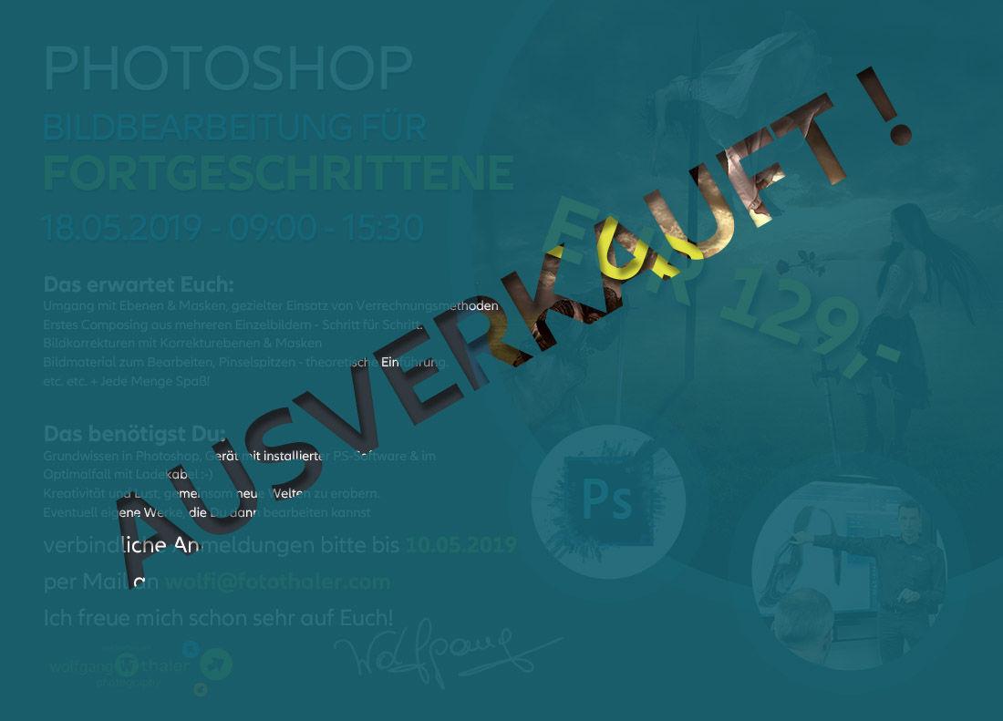 Bildbearbeitung für Fortgeschrittene mit Photoshop am 18.05.2019 - AUSVERKAUFT!